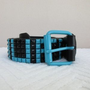 Party Rock Bonded Leather Belt,5 Row Studed  Small